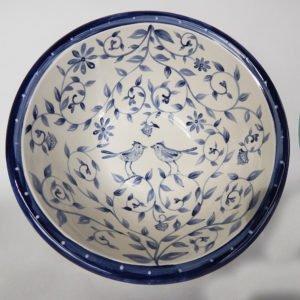 inside of Delft Blue Birds serving bowl