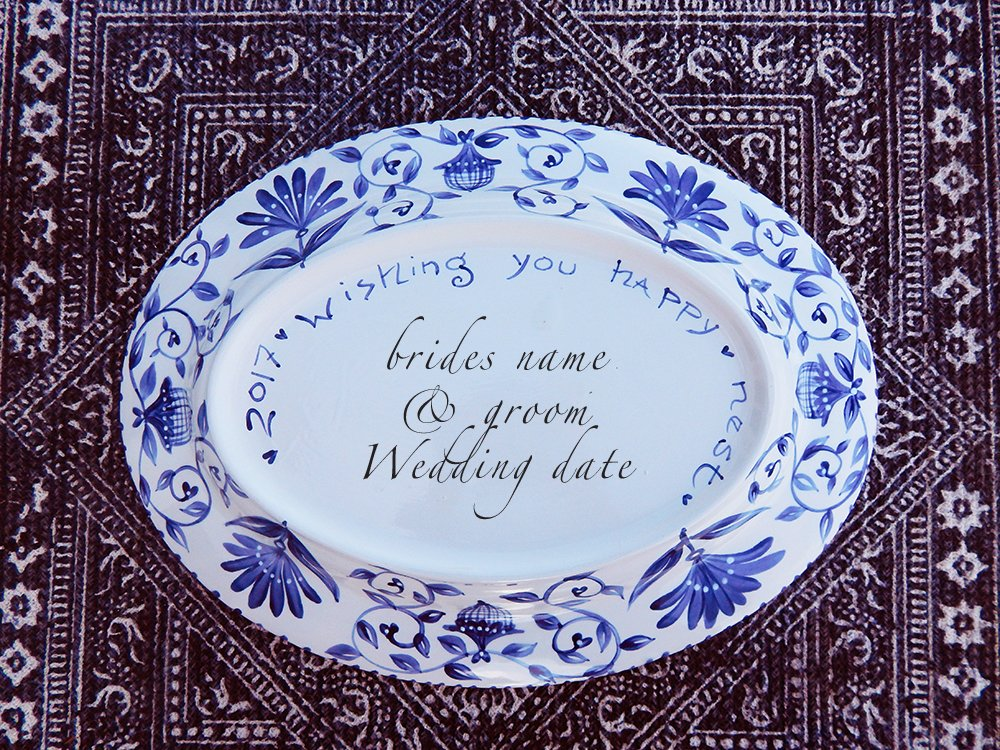 custom wedding large platter happy nest